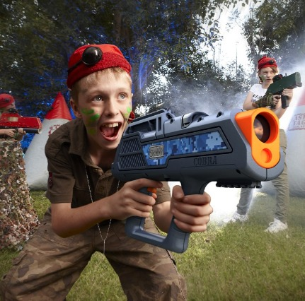kids love to play laser tag in the backyard